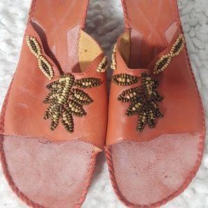 Clarks Artisan Slip on Sandals Wedge Beaded 9.5